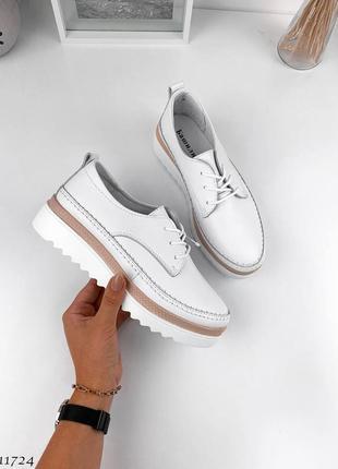Натуральная кожа, шикарные белые женские лоферы на шнурочках