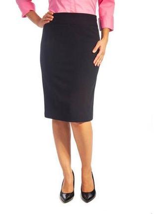 Классическая миди юбка с резинкой, со шлицей, на подкладке
