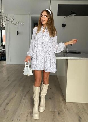 Платье женское летнее легкое мини короткое белое черное нарядное
