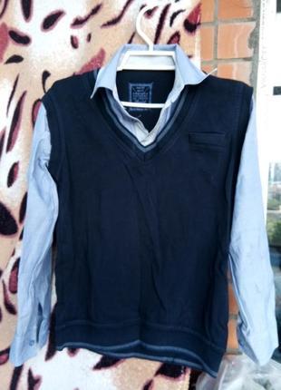 Рубашка жилетка реглан обманка сорочка-жилетка