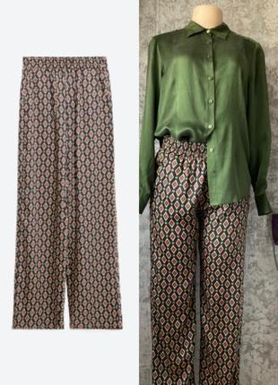 Атласные брюки с карманами, в пижамном стиле, принт - ромбы zara woman