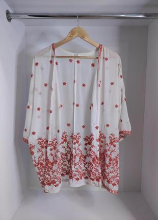 Пляжная накидка кимоно с вышивкой парео на пляж туника пляжный халат для пляжа