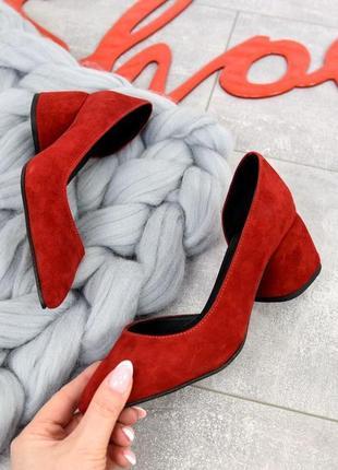Красные туфли из натуральной кожи на каблуке 5си