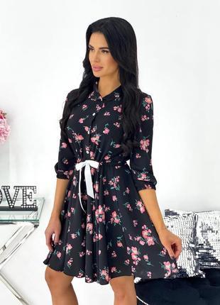 Платье женское короткое легкое летнее цветочное с бантом черное белое