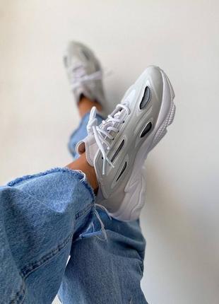 Женские серые деми кроссовки адидас озвиго унисекс жіночі трендові сірі кросівки adidas ozweego celox grey one/ftr white/halo blue