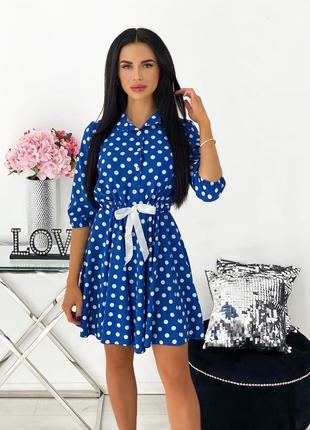 Платье летнее легкое короткое в горошек мини с бантом черное белое синее