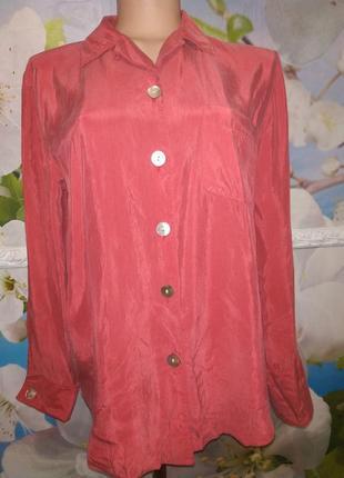 Шелковая рубашка нереально красивого цвета винтаж 100% cupro m