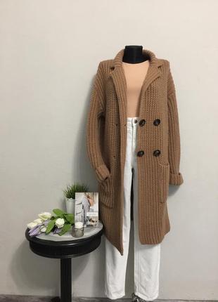 Красивое фирменное пальто кардиган шерсть kontantto