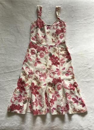 Летний льняной сарафан от m&s, 100% лён, сарафан в цветочек, платье с принтом цветы, сарафан для фотосессии