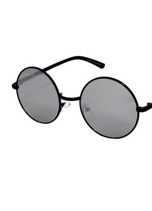 Очки солнечные круглые rich person с зеркальными линзами в черной оправе