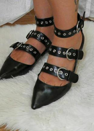 Туфли мюли zara натуральная кожа черные элегантные