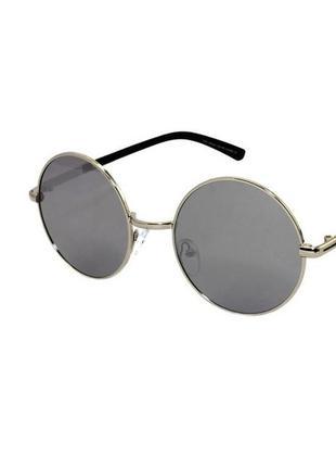 Очки солнечные круглые rich person с зеркальными линзами в золотой оправе