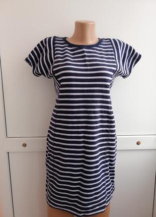 Платье синее белое в полосочку короткое