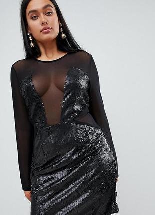 Крутое мини платье prettylittlething - сетка, пайетки - 8 р-р - на хс и с
