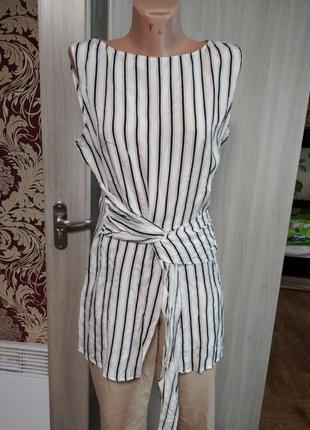 ❤️юдлиненная блузка короткий рукав полоска туника zara m