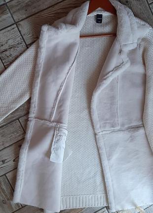 Шикарный кардиган пальто жакет молочного цвета