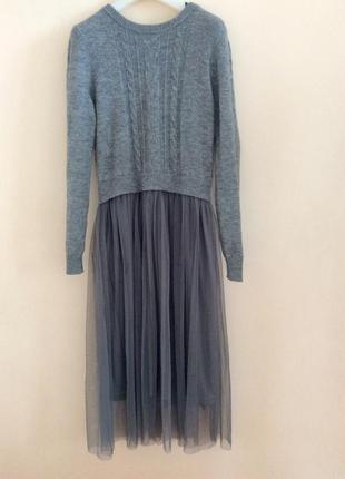 Красивое стильное платье имитация свитер с юбкой