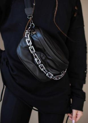 Женская бананка черная бананка кожаная бананка стеганая сумка через плечо кроссбоди