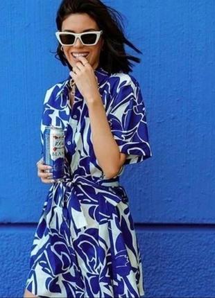 Zara платье рубашка в принт