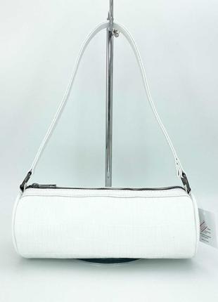 Женская белая сумка багет сумка наплечная белый клатч багет сумка пенал клатч пенал