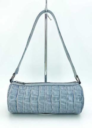 Женская голубая сумка багет сумка наплечная голубой клатч багет сумка пенал клатч пенал