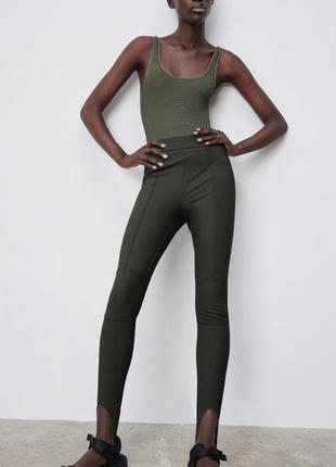 Zara лосины леггинсы с штрипками штаны новые размер s, xs