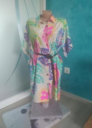 Платье-рубашка шелковое италия