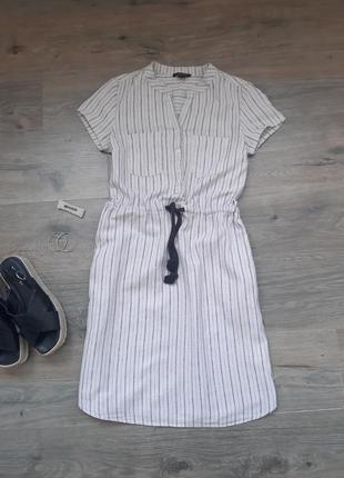 Льняное платье в полоску. лляне плаття