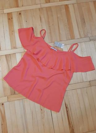 Нова рожева блуза/легкая нова блузка/ красивейший волан/