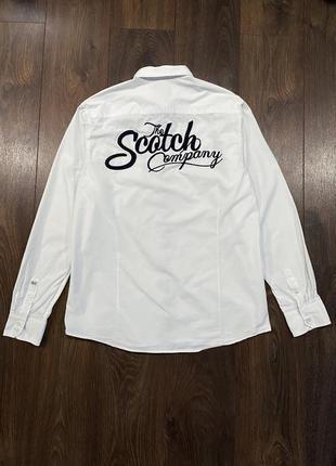 Scotch&soda белая рубашка с большым лого