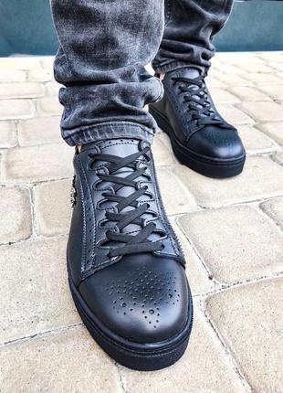 Мужские демисезонные кеды кроссовки черные