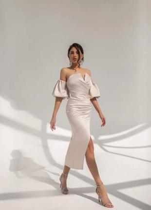 Бежевое платье , вечернее платье 46 , платье из атласа , платье с пышными рукавами