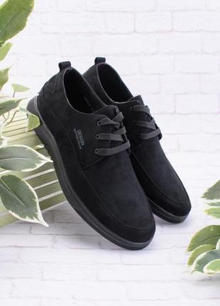 Мужские черные туфли эко замш