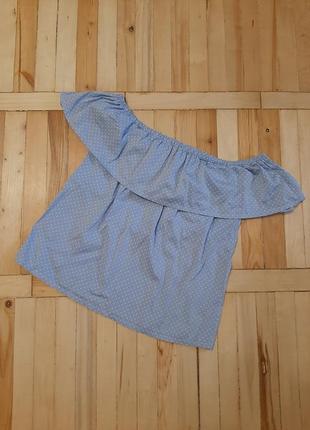 Идеальный топ /блуза в горох/ блузка на плечи