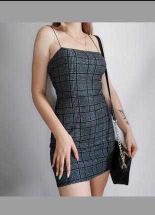 Блестящее платье в клетку тонкие бретели серое платье pins&needles мини сукня плаття