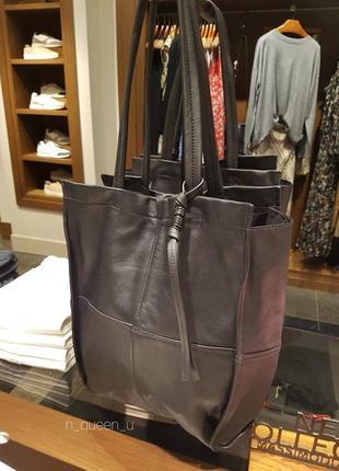 Черная сумка-шопер из мягкой кожи наппа, massimo dutti! оригинал, португалия!
