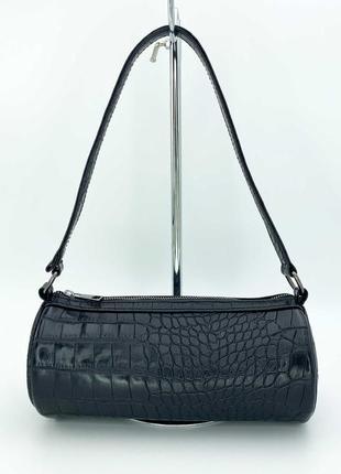 Женская черная сумка багет сумка наплечная черный клатч багет сумка пенал клатч пенал