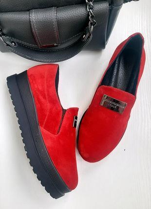 Красные туфли из натуральной замши 38р