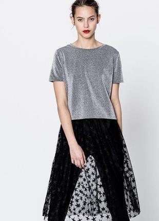Нарядный серебристый топ блуза с коротким рукавом
