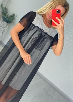 Платье футболка оверсайз с сеткой ниже колен