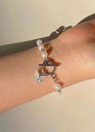 Браслет на руку , браслет с бабочкой , жемчужный браслет