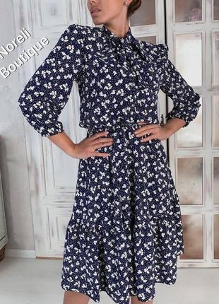 Платье миди с оборками объёмными рукавами под пояс в мелкий цветочный принт. распродажа