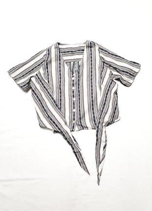 Блузка рубашка свободная на завязках в стиле бохо р s m