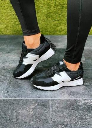 Женские кроссовки new balance 327🆕шикарные замшевые нью беланс🆕черно-белые кроссы