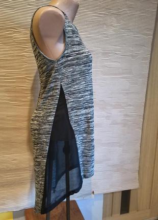 Майка сукня туніка прозора по бокам сіра чорна s міді