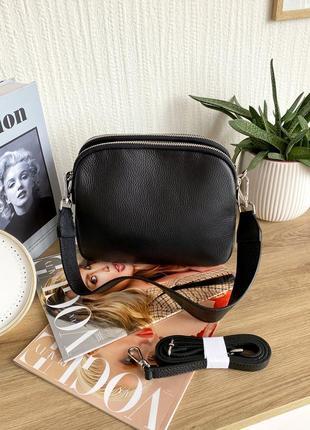 Женская кожаная итальянская черная сумка на 3 отделения, италия