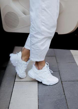 Шикарные женские кроссовки adidas ozweego adipren white в белом цвете