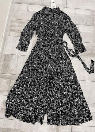 Платье миди в горох на пуговицах с поясом zara