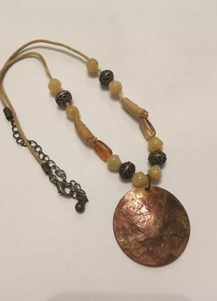 Колье ожерелье бусы винтаж натуральный перламутр