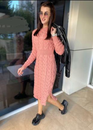 Розовое вязанное платье, грубой вязки, оверсайз, т036